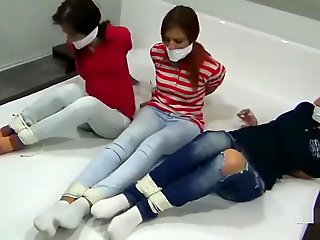 fetish, straight, 3 girls gagged
