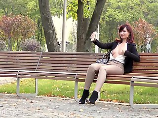 outdoor, exhibitionism, Jeny Smith was caught wearing crotchless pants in pen up