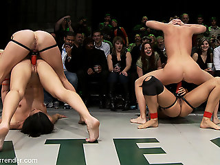 cunnilingus, lesbian, The Ninjas Vs The Dragons Coup de gr�ce Round Of The Striving Match Up - Publicdisgrace