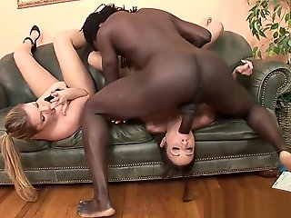 threesome, straight, White Grumble Gets Anal Gap Destroyed By Throbbing Black Rod