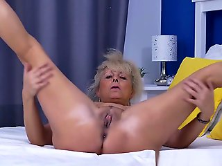granny, straight, Euro Gilf Koko Lowers Their way Jeans And Rubs Their way Pussy