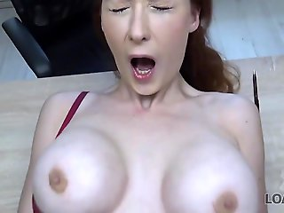 hidden cam, casting, LOAN4K. Busty redhead pays with sex be advantageous to approach of her business