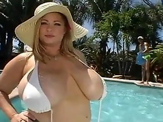 big natural tits, milf, Samantha 38G destroyed by BBC pool little shaver Pawginc