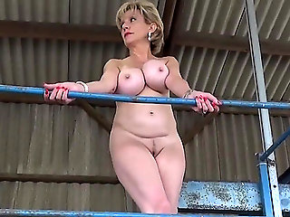 mature, blonde, public nudity