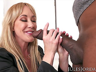 cumshot, blowjob, Jules Jordan - Brandi Love Interracial With Dredd!