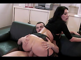 brunette, anal, Hot teacher in wild triplet