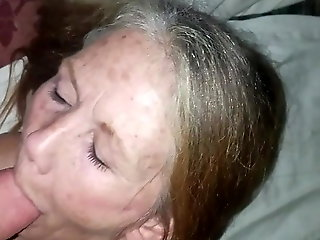 cumshot, amateur, 60 year aged botch takes facial