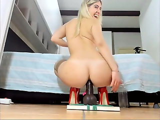 amateur, webcam, Black dildo in hot blonde ass