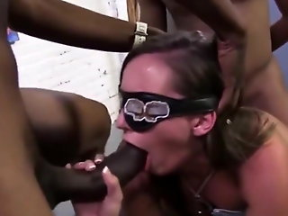 interracial, brunette, bukkake