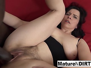 ass, mature, Mature With Inexperienced Tits Gets A Creampie In Her Hairy Pussy - MatureNDirty